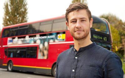 Os ônibus de Londres possuem um novo combustível:  Borra do café